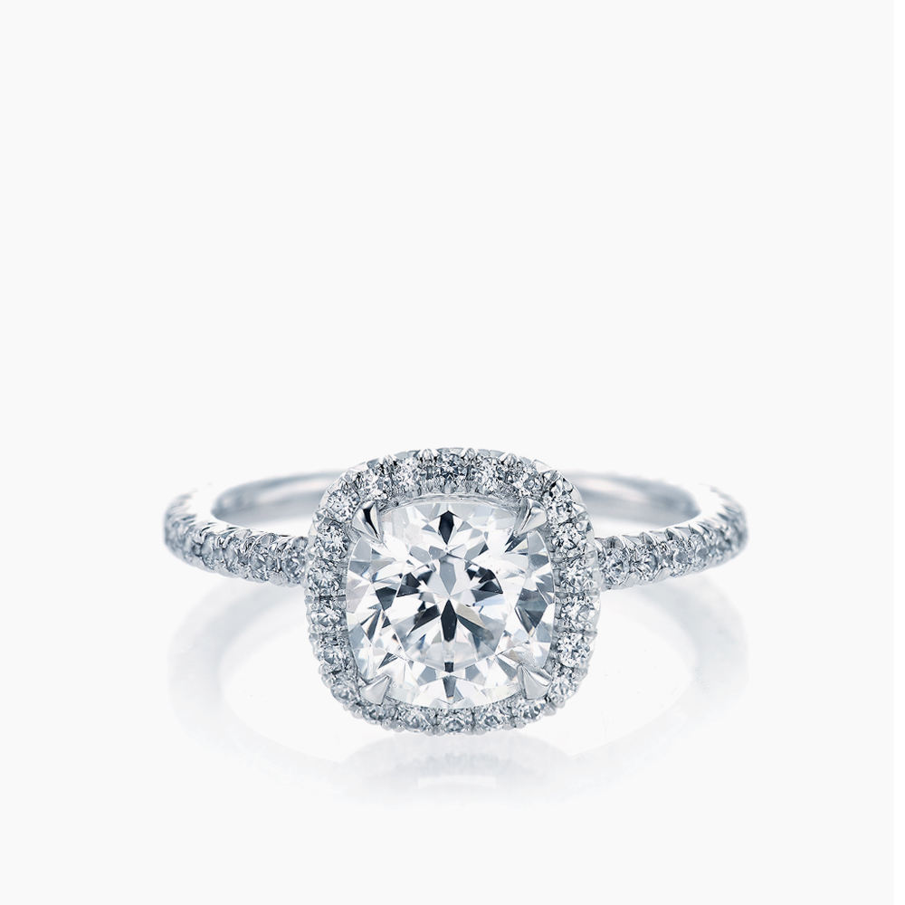 FRENCH PAVE CUSHION HALO RING