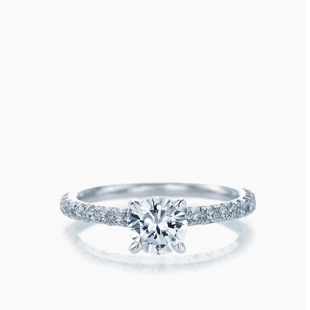 FRENCH PAVE SOLITAIRE RING