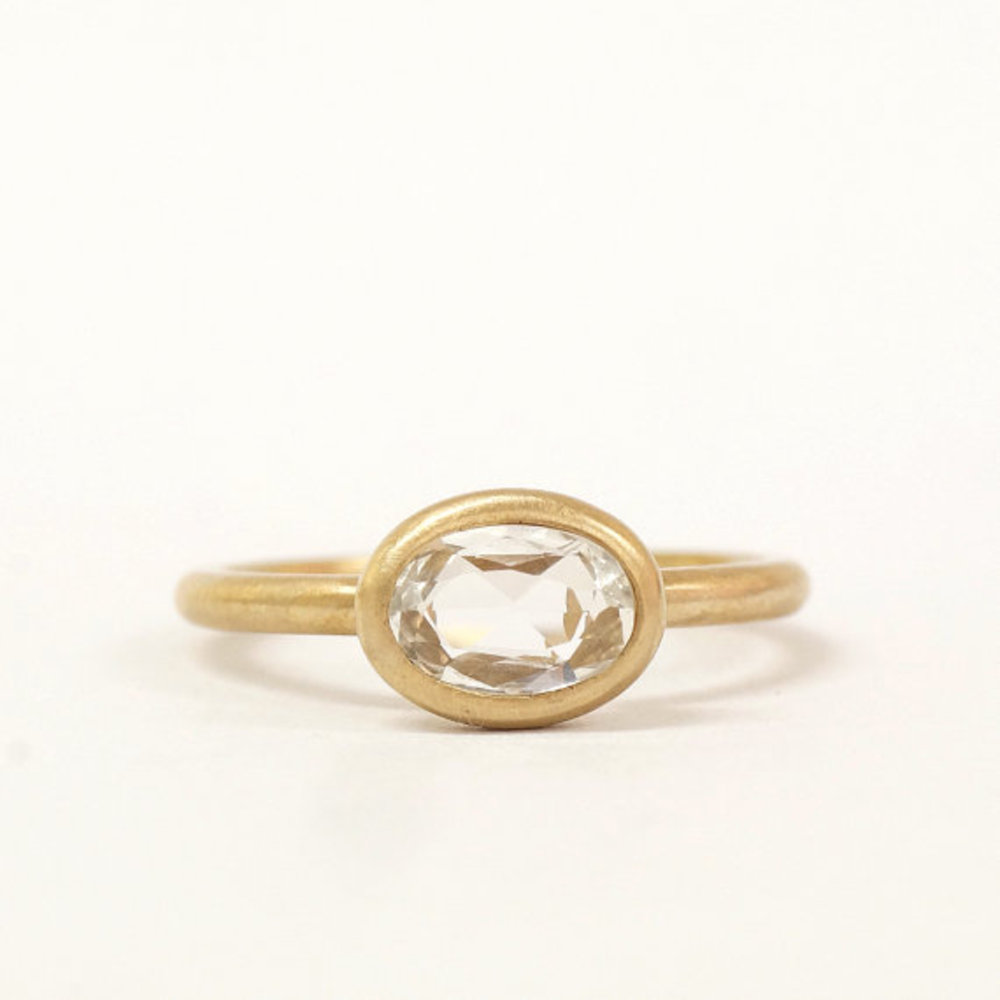OVAL SHAPE ROSE CUT WHITE SAPPHIRE RING
